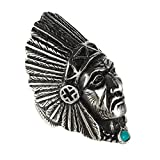 HIJONES Unisex Stainless Steel Indian Chief Tribe Ring with Green Stone Size 8