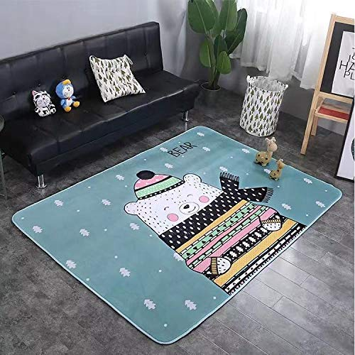 Read About Fancy Cute Cat Animal Pattern Design Blue Color Baby Play Mat Anti-Skid Kids Play Rug Car...