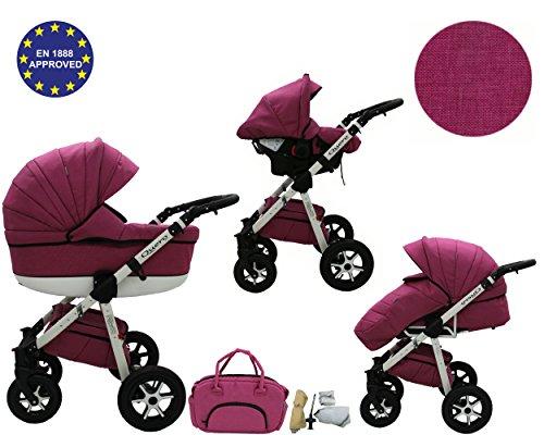 QUERO Lin Matériau - Landau pour bébé + Siège Auto - Poussette - Système 3en1 + Accessoires (Système 3en1, Lin Matériau N ° 9)