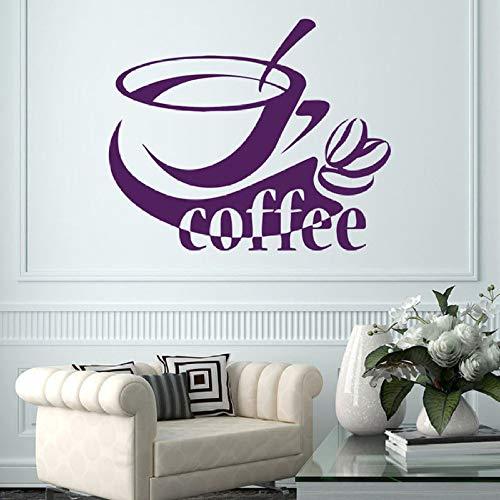 JXMN Fototapete Kaffeetasse Bohnen Aufkleber Küche Vinyl Aufkleber Café Dekoration 57x69 cm