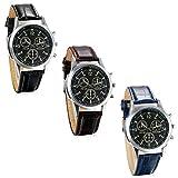 JewelryWe Relojes de Hombre Caballero, 3 Subesferas Decorativas Reloj de Moda, Correa de Cuero Clásico Casual
