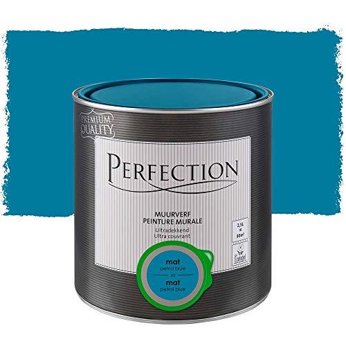 Peinture Murale Intérieur Monocouche, Perfection - Mat - 60 Petrol Bleu - 2,5L - 30m²
