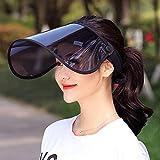 サンバイザー LightYou レディース レインハット 360°可動式 帽子 レインバイザー 自転車 キャップ UVカット UPF50+ 紫外線対策 日焼け対策 つば広 ワイド 男女兼用 通学 通勤 旅行用 超軽量 (ブラック)