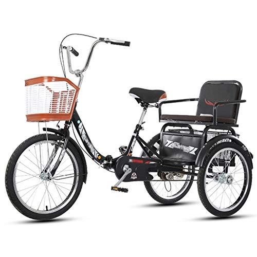 SN Triciclo para Adultos Bicicleta 3 Ruedas 20 Pulgadas Crucero Carga 1 Velocidad con Cesta para Comprar O Bolsa A Prueba Polvo para Perros para Hombres Mujeres Ciudad Calle (Color : Black)