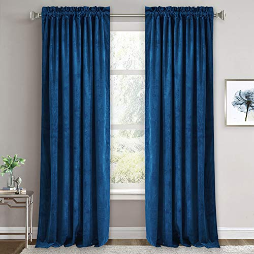 RYB HOME Blue Velvet Curtains - Heavy Duty Thermal Insulated Drapes for Living Room, Energy Efficient Room Darkening Window Curtain Panels for Bedroom / Kids Room, 52 x 84 inch, Royal Blue, 1 Pair