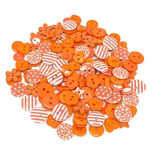 Lot de 150 boutons oranges en bois, acrylique et résine pour confection de cartes