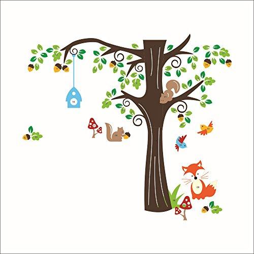 Wallstickersdecal animali del bosco volpe, scoiattolo e uccelli albero Wall Stickers, yellow, 150 cm (H) x 134 cm (W)