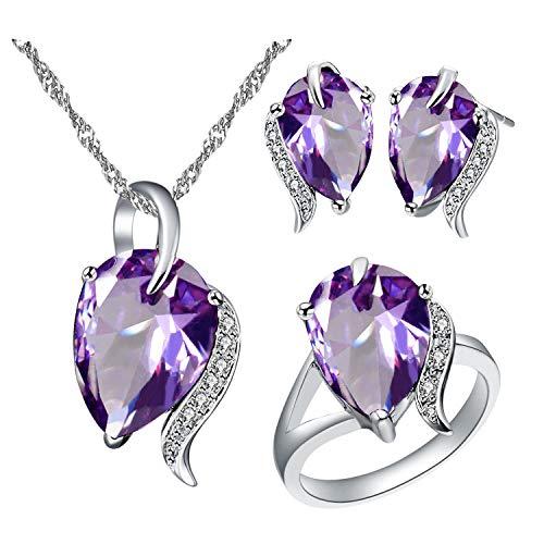 Uloveido - Set di gioielli da donna a forma di pera rosso e viola con cristalli, collana e orecchini a perno, set per ragazze T300 e Ottone, 61 (19.4), colore: Viola, cod. T300-Purple9