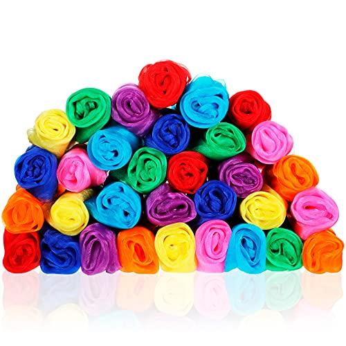 WILLBOND Tanzen Schals Rhythm Band Schals Quadratisch Jonglierschal Regenbogen Feste Schal Mehrfarbig Schals für Kinder und Erwachsene, 24 x 24 Zoll (Dunkelviolett, Orange, Rosa, Grün, 32 Stücke)