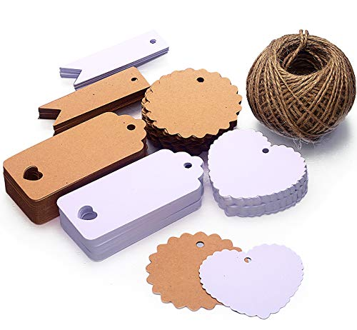 Amateco Kraft Paper Tags with Jute String 60 m Gift Tags Tags for Luggage Wedding Gifts for Crafts