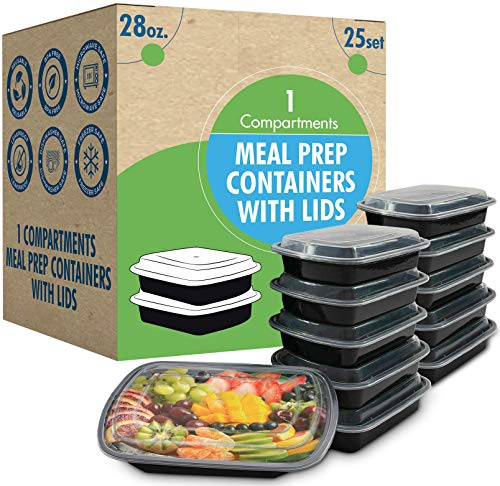 [25 Set] 28oz Meal Prep Containers with Lids Ideal-Lunch Containers, Food Prep Containers, Food Storage Bento Box, Portion Control | Stackable | Microwave | Dishwasher | Freezer Safe Compartment.