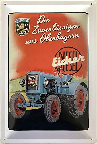 Luxus Pur UG Blauer Trecker Traktor Glocke Gusseisen Garten Antik Dekoration Nostalgie