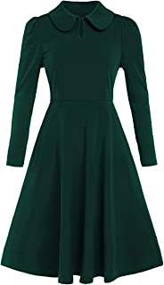 Romwe Women's Petite Vintage 1950s Retro Collared Long Sleeve Fit and Flare Swing Party Dress
