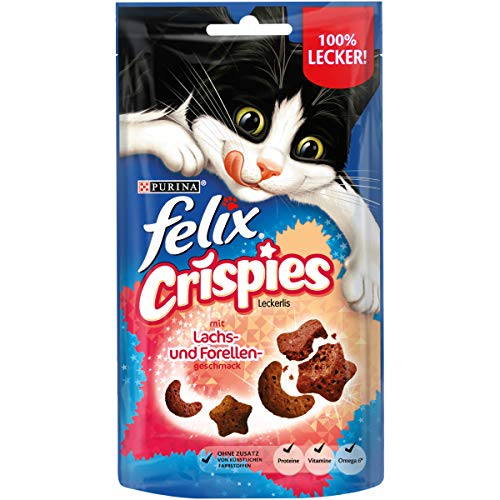 FELIX Crispies Katzensnack, Knusper-Leckerlie mit Lachs-und Forellengeschmack, 8er Pack (8 x 45g)
