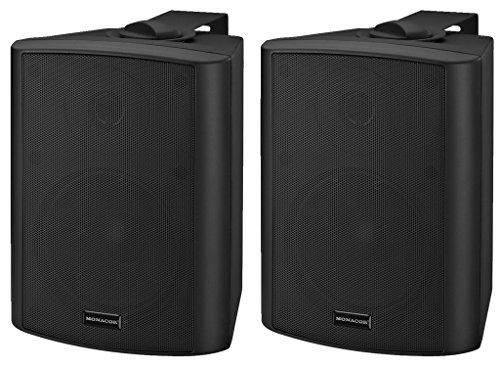 MONACOR MKA-50SET/SW Aktives 2-Wege-Stereo-Lautsprecherboxen-System, 2 x 20 W schwarz