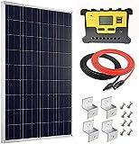Giosolar - Panel solar policristalino (100 W, 12 V, con controlador de carga solar, cable rojo/negro + soportes Z de montaje para RV barco fuera de rejilla