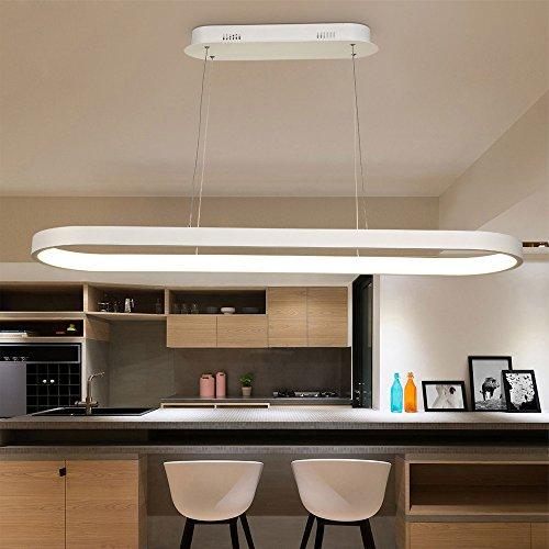 Moderne Lampe suspension LED Suspension ronde en créatifs piste design élégant Bague Aluminium Suspension Hauteur réglable häng Télécommande Réglable en continu Intensité variable Longueur 120 cm