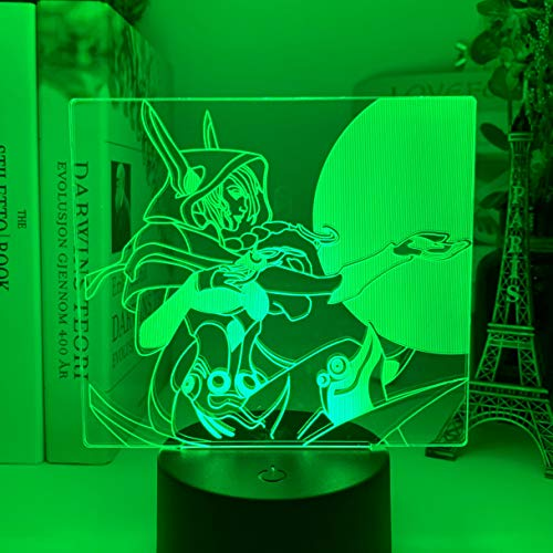 LED-Nachtlicht, Xayah-Figur, buntes Nachtlicht für Gamer, Spielzimmer, Dekoration, Tischlampe, LOL der Rebel