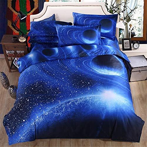 Juego de cama con 2 fundas de almohada, diseño de cielo estrellado con cierre de cremallera, funda de edredón de microfibra suave, tamaño doble, 200 x 200 cm