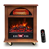 FLAMEMORE Electric Infrared Cabinet Heater with Fireplace Flame Effect, Portable Space Heater for Indoor Use Remote Control 12H Timer, Child Safety Lock Overheat&Tip-over Protection for Home Bedroom