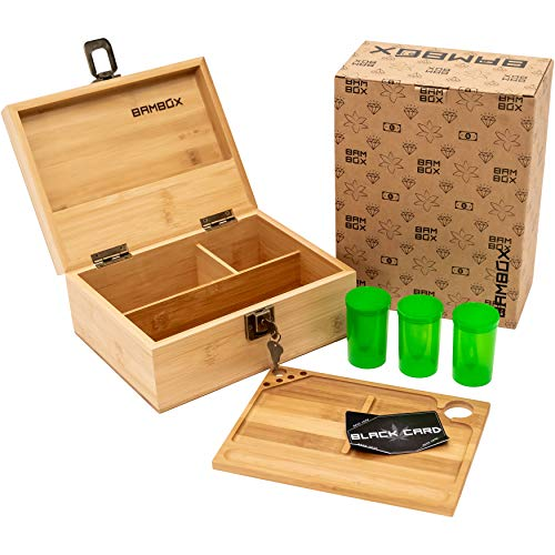 BAMBOX Stash Box with Rolling Tray, Smell Proof Containers and Black Card (Included). Wooden Stash Box with Lock Stores All Grinders, Papers, and Accessories