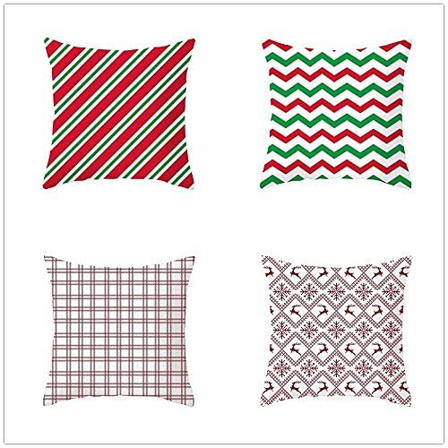 BFKJQ Dekorativa fyrkantiga kuddöverdrag 40 x 40 cm, set med 4 moderna moderna enkelhet nordeuropa vågmönster röda örngott med osynlig dragkedja för vardagsrum, sovrum, bil, soffa