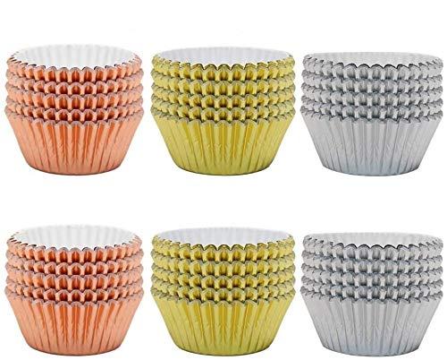 Tamaños de papel regular de 600 piezas Forros de cupcake metálicos Estuches de papel para muffins Tazas para hornear, oro, plata y oro rosa (2.76X1.18 pulgadas)