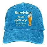 Sobrevivir Social Distancing One Glass at A Time Funny Beer Gorra De Béisbol Hombres Ajustable Snapback Gorra Clásico Azul