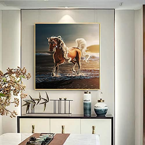 Caballos caminando por el mar en el atardecer carteles e impresiones pinturas en lienzo cuadros artísticos de pared para la decoración de la sala de estar 60x60 CM (sin marco)