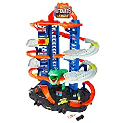 Inspire hours of imaginative play with an enormous Hot Wheels garage — a vertical tower with parking (easy storage) for more than 100 cars! Watch out for the hungry Robo T-Rex looking to devour some tasty Hot Wheels vehicles. Speed down the side-by-s...