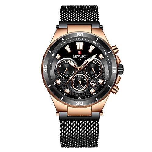 Reloj de Cuarzo analógico de Acero Inoxidable japonés para Hombre con Correa de Acero Inoxidable -E