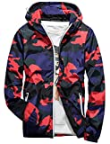 Rexcyril Men's Windbreaker Jacket, Floral Camouflage Bomber Jacket Lightweight Flowers Hooded Coat Red 3, Large