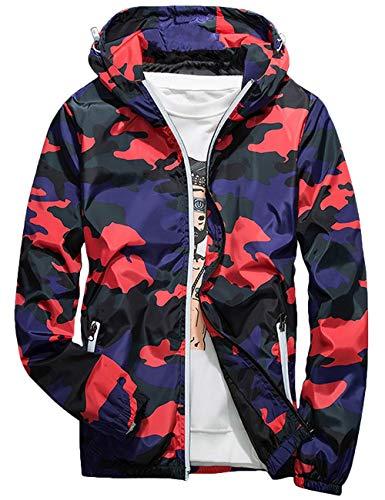 Rexcyril Men's Windbreaker Jacket, Floral Camouflage Bomber Jacket Lightweight Flowers Hooded Coat Red 3, Medium