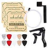Ukulele Strings, Yoklili 5 Sets of Nylon Ukulele Strings with 10 Felt Picks, String Winder for Soprano (21 Inch) Concert (23 Inch) Tenor (26 Inch) Ukulele, and Capo included