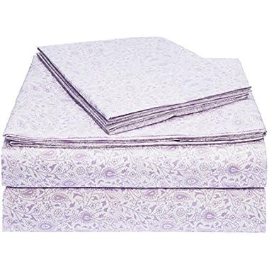 AmazonBasics Microfiber Sheet Set - King, Lavender Paisley
