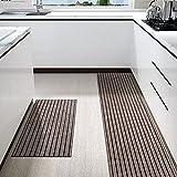 Color&Geometry Juego de Alfombrillas de Cocina Antideslizantes de 2 Piezas, alfombras de Barrera con Respaldo de Goma, Alfombra Absorbente y Lavable para Cocina (44x75cm + 44x150cm, Marrón)