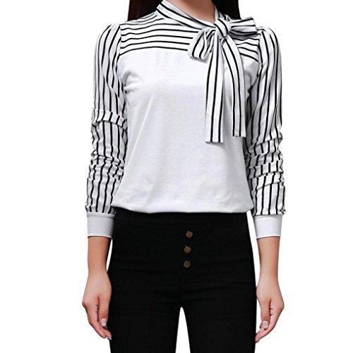 Internet Sexy Femme Chic T-Shirt Tie-Bow Tops Manches Longue Blouse Rayé Femme Col V Arc en Polyester Chemise Tunique Patchwork Haut Casual Lâche Chemise Classique (L, Sexy Blanc)