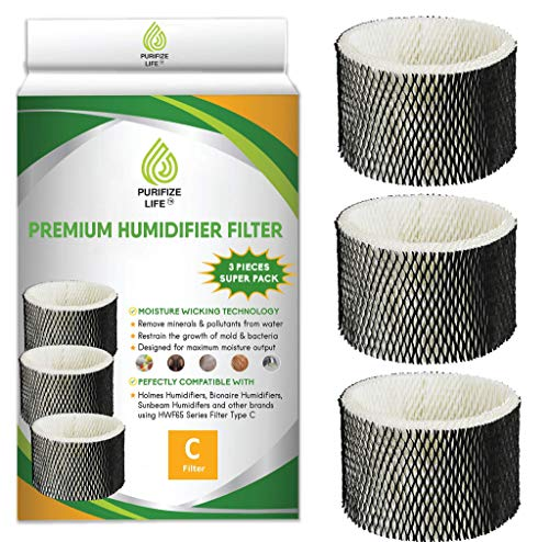 PURIFIZE LIFE 3 Pack Premium Replacement Wick Filter for HWF65PDQ-U Comparable to Holmes HWF65 Type C Replacement Humidifier Filter for Models HWF65
