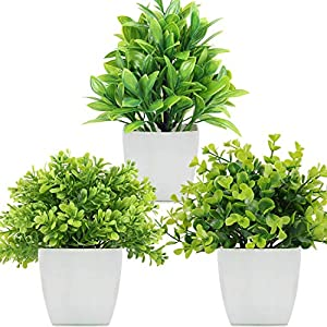 LELEE Artificial Plants Fake Potted Plants, 3 Pack Mini Eucalyptus Potted Faux Decorative Grass Plant with White Pot for Home Decor, Indoor, Office, Desk, Table Decoration
