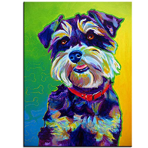 Pintura de diamante para niños Colorido Lindo perro Schnauzer Animal Animal Decoración del hogar Bordado Carácter Mosaico Fabricación