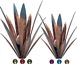 2pcs Tequila Rustic Sculpture Metal Agave Plant Home Decor Rustic Hand Painted Metal Agave Garden Ornaments Outdoor Decor ...