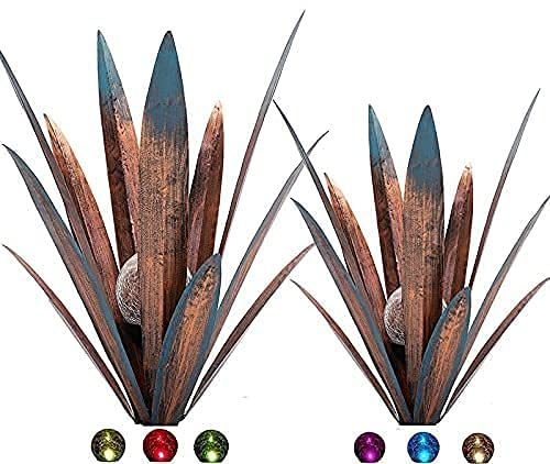 2pcs Tequila Rustic Sculpture Metal Agave Plant Home Decor Rustic Hand Painted Metal Agave Garden Ornaments Outdoor…