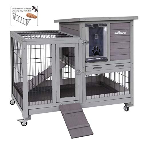 Aivituvin Rabbit Hutch Indoor Bunny Hutch with Run Outdoor Rabbit House with Two Deeper No Leak Trays - 4 Casters Include