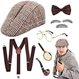 SPECOOL Sherlock Holmes Accessorio Vestito Set Old Man Disguise Cosplay Costume Kit Pipa Fumatori Cappello Cacciatore con Lente d'Ingrandimento Bretella Fiocco Grigio Barba Sopracciglia Occhiali