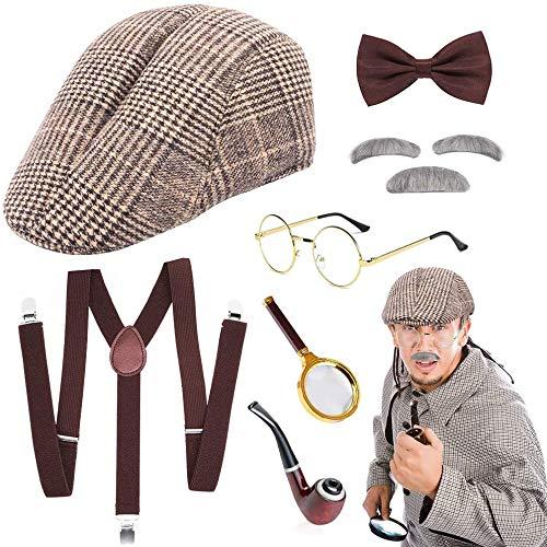 SPECOOL Sherlock Holmes Detective Kit Old Man Shack Victorian Disguise Cosplay Disfraz Disfraz Conjunto Victorian Boy Pipa de Fumar Deerstalker Sombrero Lupa Tirante Lazo Barba Gris Cejas Gafas