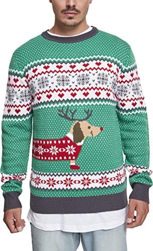 Urban Classics Herren Sausage Dog Christmas Sweater Sweatshirt, Mehrfarbig (Evergreen/White/Red/Darkgrey 01568), Large