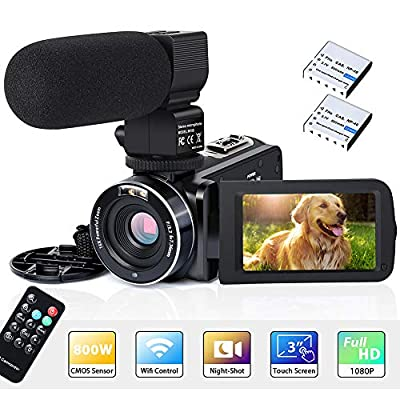 "Video Camera Camcorder WiFi IR Night Vision FHD 1080P 30FPS 26MP YouTube Vlogging Camera Recorder 3"" Touch Screen 16X Digital Zoom Digital Camera with Microphone Remote Control from Actinow"