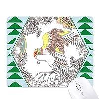翼の花・木の鳥の浮世絵 オフィスグリーン松のゴムマウスパッド