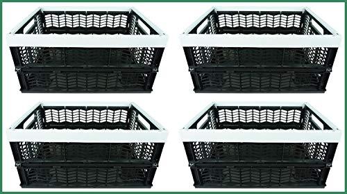 Novaliv Klappboxen faltbar stabil | 4X 30L Grau Schwarz Baskets Einkaufskiste| Klappkisten Set Tragebox Aufbewahrung Einkaufskörbe Körbe Aufbewahrung Küche