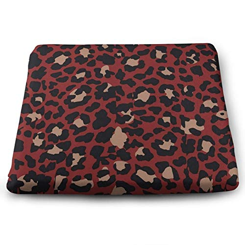 Red Black Brown Leopard Spot Chair Seat Cushions Pads Set of 4 Memory Foam Office Dining Kitchen Soft Chair Cushion for Pressure Relief, Wheelchairs, Car, Outdoor, Floor, Lawn, Non Slip